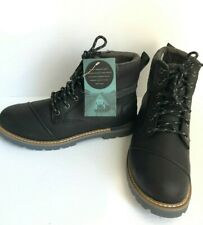 $210 New TOMS Mens Ashland Waterproof Ankle Boots Leather Anti-Slip Black Sz 10