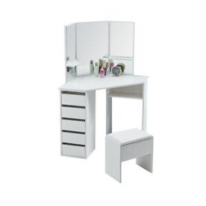 White corner dressing table 3 rectangular mirror 5 drawer bedroom home furniture