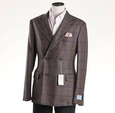 NWT $2095 BELVEST Brown-Blue Check Camelhair Sport Coat Slim 38 R (Eu 48)