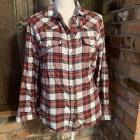 Bea Jachs Girlfriend Medium Red Black Flannel Long Sleeve Snap Down Shirt