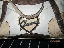 Guess Bag Leather  Patent Croc Large Tote white beige Used