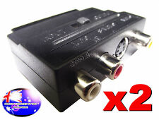 From OZ Quality 2PC SCART Male To 3 RCA S-Video Female AV TV & Audio Adaptor +FP