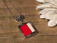 Recycled Broken Porcelain Jewelry, Red & White Pendant