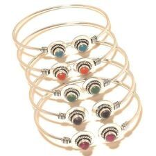 Wholesale Lot Silver Plated Gemstone Bracelet Cuff Jewellery