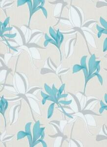Luna Floral, Blue/turquoise & Silver with Glitter, Paste the Wall Wallpaper