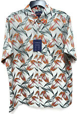 Croft & Barrow Men's Blue Orange White Floral Button up Shirt Size XL