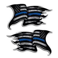 Thin Blue Line Sticker Tattered American Flag Decal Fallen Officer Blue Lives
