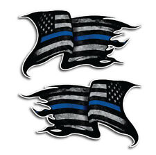 2x Thin Blue Line Sticker Tattered American Flag Decal Police Lives Matter Yeti