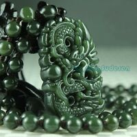 100% natural green hetian jade carved dragon blessing men's pendant necklace