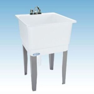 Freestanding White Laundry Garage Sink Utility Bowl Wash Tub Basin Mustee Drain