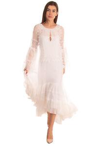 RRP €5260 ALBERTA FERRETTI Silk Maxi Wedding Dress Size 38 XS Pleated Ruffled