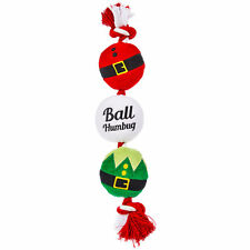"""Time for Joy BALL HUMBUG Dog Toy Squeakers Rope Holiday Christmas 12.5"""""""