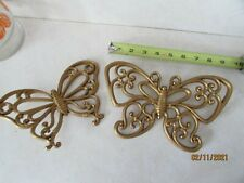2 Homo Butterfly Wall Plaques Home Interiors Gold Wicker Look