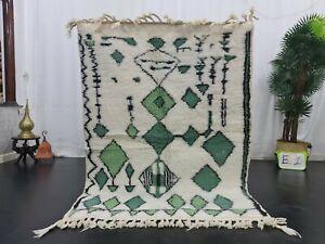 "Moroccan Handmade Beni Ourain Rug 4'1""x5'8"" Berber Geometric White Green Carpet"