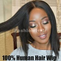 Yaki Straight Lace Front Wig For Black Women Indian Remy Human Hair Wig Kinky gs