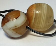 2 ANCIENT RARE ASIA MINOR BANDED AGATE BEADS