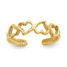 Adjustable Toe Ring 1.24 gr 14k Yellow Gold Casted Open Hearts