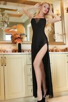 Plus Size Sheer Lace Up Backless Evening Dress Lingerie Gown S M L XL 2X 3X 4X
