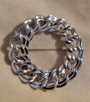 Vintage Large silvertone link chain wreath brooch circle statement bold