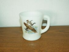 Vintage Fire King Milk Glass Canadian CANADA GOOSE Game Bird Coffee Cup Mug