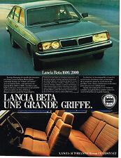 PUBLICITE ADVERTISING 114  1980  LANCIA BETA  UNE GRANDE GRIFFE 1600 2000