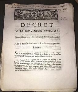 RÉVOLUTION.DOCUMENT SUR ACCUSATION CONTRE LE LIEUTENANT-GÉNÉRAL LANOUE (1792).