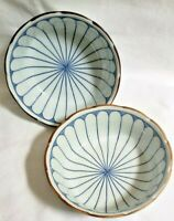 Pair of Blue Cobalt Arita Fine Porcelain Rice Bowls Made in Japan scalloped