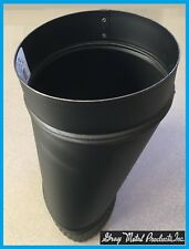 """GRAY METALS SINGLE WALL- 6"""" Wood Stove Pipe Oval-To-Round Adapter 24 GAUGE BLACK"""