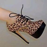 Women Leopard Ankle Boots High Heel Lace Up Platform Round Toe US 4.5-12.5 ShoeS