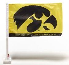 """Iowa Hawkeyes Black 2 Sided 11"""" x 18"""" Car Window Flag With Wall Mount"""
