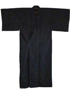 "Japanese Yukata Kimono Sash Belt Robe Black Men 61"" L Cotton Made in Japan"