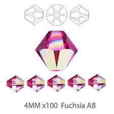 4 mm x 100 fuchsia ab Bicone Crystal perles de verre