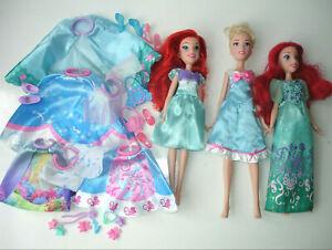 Disney Princess Ariel & Cinderella Layer N Style Dolls + Clothes & Accessories