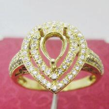 4x6mm Pear Cut Solid 14Kt Yellow Gold Natural Diamond Semi Mount Wedding Ring