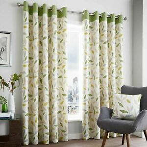 """CLEARANCE Green Eyelet Curtains Beechwood Pairs 66"""" x 54"""""""