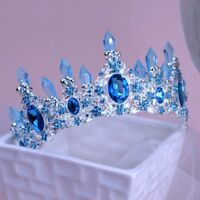 Baroque Blue Wedding Bridal Crystal Queen Pageant Prom Headband Crown Tiara Gift