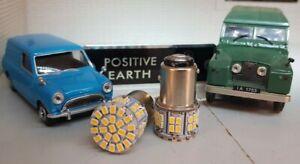 2x POSITIVE EARTH 21/5W 380 1156 BAY15D LED Brake Tail Rear Car Bulbs Warm White