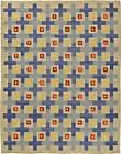 Midcentury Swedish Blue, Red, Yellow & Beige Flat-Woven Wool Rug BB5802