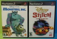 Disney Monsters Inc + Lilo Stictch - PS2 Playstation 2 Game Lot Tested + Working