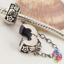 925 Sterling Silver European Clip Safety Chain Stopper Lock Bead Charm