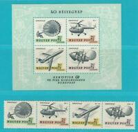 Hungría De 1967 Postfrisch Minr. 2351-2354 + Bloque 59 Correo Aéreo Helicóptero