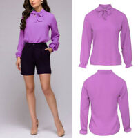 Women Chiffon Blouse Solid Long Sleeve Shirt Fashion Casual Elegant Tops Clothes