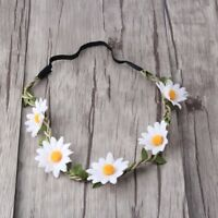 White Daisy Flower Headband Hair Band Crown, Boho Hippie Festival Style, Rave