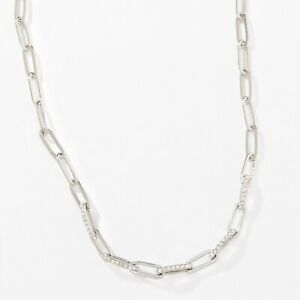Touchstone Crystal Join Together Necklace 15'' to 18'' Rhodium