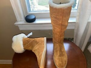 NEW STUART WEITZMAN  SZ 9.5 NATA SHEARLING SUEDE BROWN MIDCALF  BOOTS