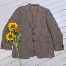 Vintage Men's Countrywear HARRIS TWEED Tannish Handwoven Wool Jacket (L) (GOOD)