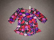 Cherokee Girl's Multi-Colored Floral Shirt- Size M (7/8)