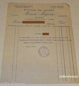 LETTRE de CORRESPONDANCE 1928 Cycles et Autos Henri PEGOIX pour Cabriolet 5 CV