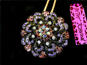 New Fashion Betsey Johnson Beautiful crystal flower Pendant Necklace