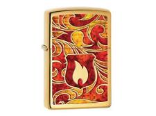 "ZIPPO ""FLAME"" POLISHED BRASS Z-FUSION LIGHTER / 60001625 ** NEW in BOX **"